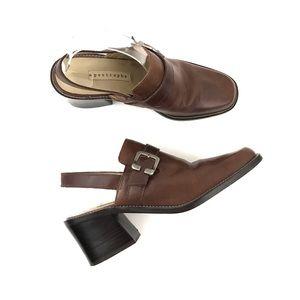 Vintage | Leather Mules Chunky 90s Heels Brown 8.5